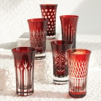 Ruby Hand-Etched Shot Glasses