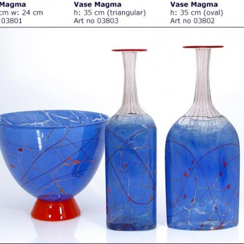Speckled Blue Glass Vases