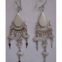 White Stone Peruvian Earrings