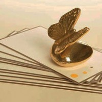 24 Karat Gold Butterfly on Rock Paperweight