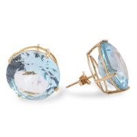 24K Gold Aquamarine Ear Studs