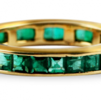 24K Gold Emerald Eternity Ring