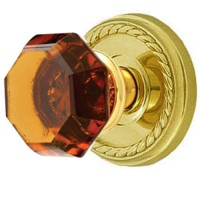 Amber Crystal Door Knob Set