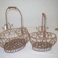 Antiqued Iron Baskets