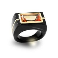 Art Deco Citrine Onyx Ring