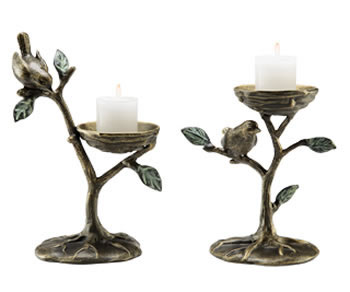 Bird & Branch Pillar Candleholders