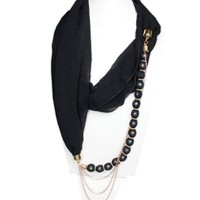 Black Chiffon Scarf Jewelry