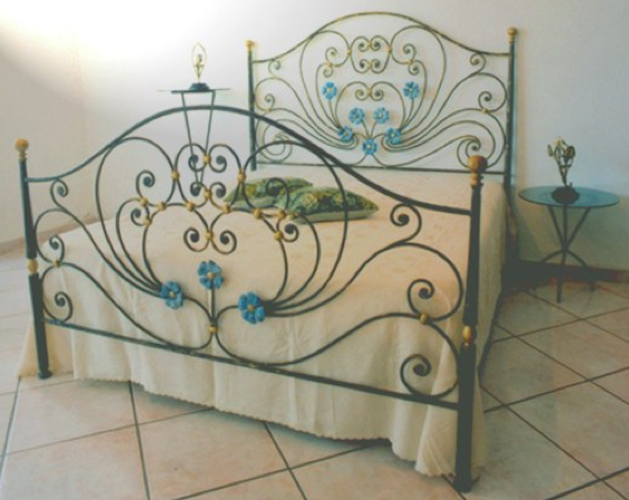 Blue Flower Wrought Iron Bed