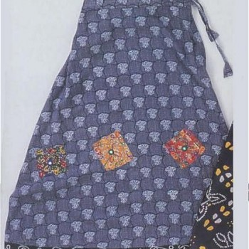 Blue Print Drawstring Skirt