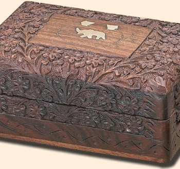 Brass Elephant Inlay Box, 9 inches x 6 inches