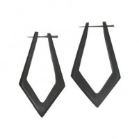 Carved Wood Point Earrings