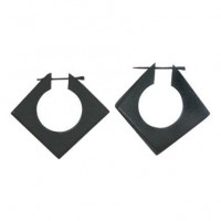 Carved Wood Square Earrings