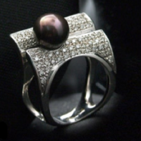 Contemporary Black Pearl Ring