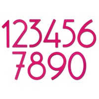 Contemporary Bronze House Numbers, hot pink