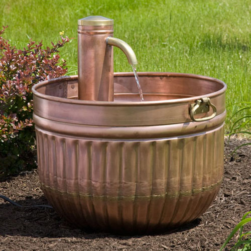 Copper Barrel Fountain with Curved Spigot