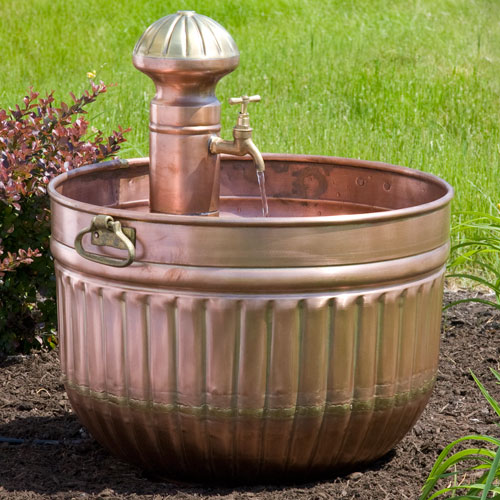 Copper Barrel Fountain with Faucet
