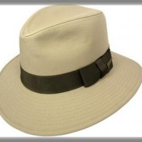 Cotton Twill Wide-Brimmed Safari Hat, tan