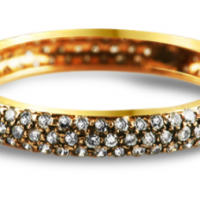 Diamond Studded Red Gold Ring