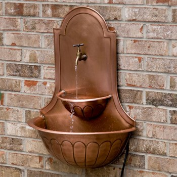 Double Sink Copper Wall Fountain with Faucet