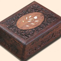Floral Inlay Box, 6 inches x 4 inches