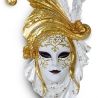 Golden Poppy Carnival Mask Wall Plaque