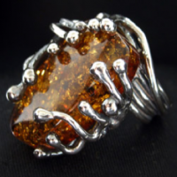 Growing Amber Silver Ring