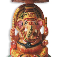 Hand Painted Wooden Ganesha Statue