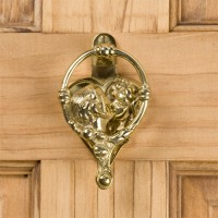 Happy Home Door Knocker, brass