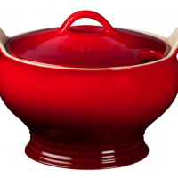 Hot Red Stoneware Soup Tureen