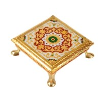 Indian Footed Meenakari Trivet