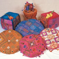 Indian Ottomans & Cushions