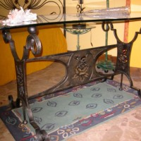 Italian Rose Wrought Iron Coffee Table