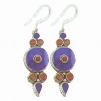 Nepali Lapis Shield Earrings, inset carnelian