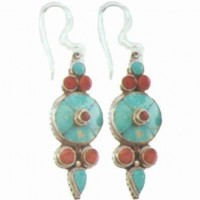 Nepali Turquoise Shield Earrings, inset carnelian
