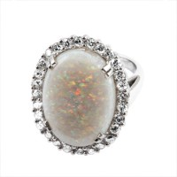 Opal Set in White Gold Ring