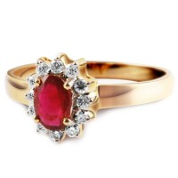 Oval Cut Ruby 24K Gold Ring