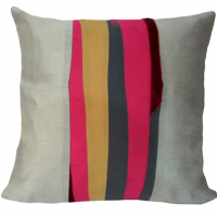 Paul Klee Style Striped Pillow Cover