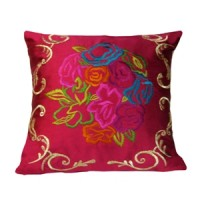 Pink Cushion Cover with Embroidery