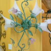Pink Flower Curlique Sconce