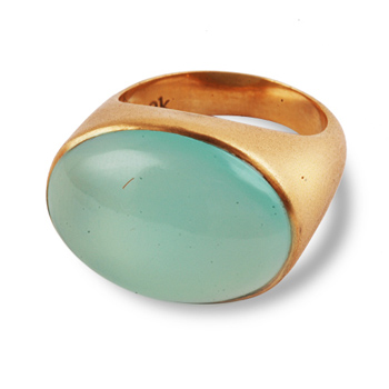 Red Gold Aquamarine Ring