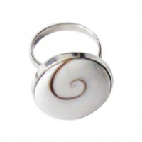 Round Sterling Silver Shell Ring