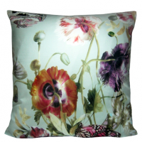 Silk Poppy Flower Pillow Cover