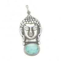 Silver Buddha with Turquoise Pendant