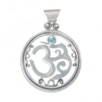 Silver Om Pendant with Inset Gem