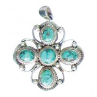 Silver & Turquoise Cross Pendant