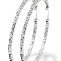 Slim White Gold & Diamond Studded Hoops