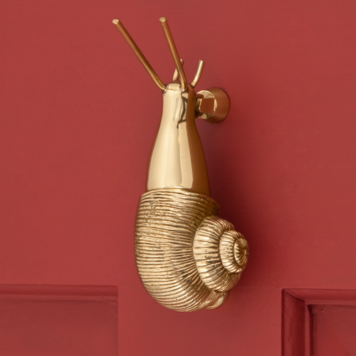 Snail Door Knocker, polished brass