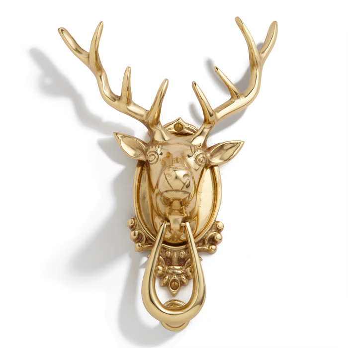 Stag Head Door Knocker, brass