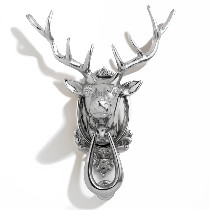 Stag Head Door Knocker, Chrome