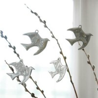 Sterling Silver Engraved Dove Ornaments